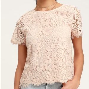 Anthropologie Blush Pink Lace Short Sleeve Top XL